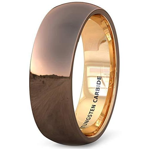 Rose Gold IP Inside Dome Tungsten Ring Polished Brown Comfort Fit - 8mm
