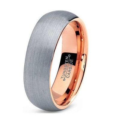 Rose Gold Tungsten Wedding Ring Domed Brushed - 7mm