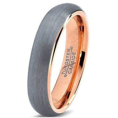 Rose Gold Womens Tungsten Wedding Band Domed Brushed - 5mm