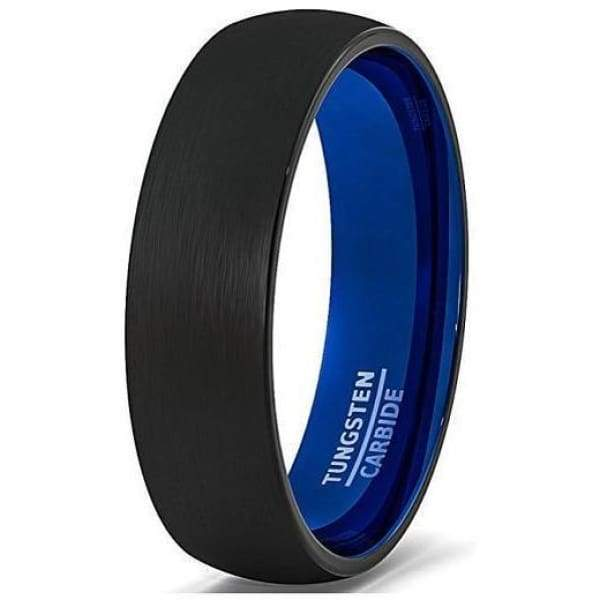 Round Black Tungsten Ring With Brushed Center & Deep Inside Blue IP - 6mm
