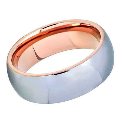Round Tungsten Wedding Ring With High Polished Center & Rose Gold IP Inside - 8mm