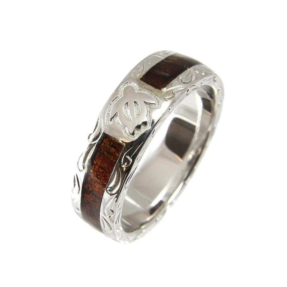SANI Wedding Band Ring Genuine Hawaiian Koa Wood Eternity Honu Turtle 925 Silver - 6mm