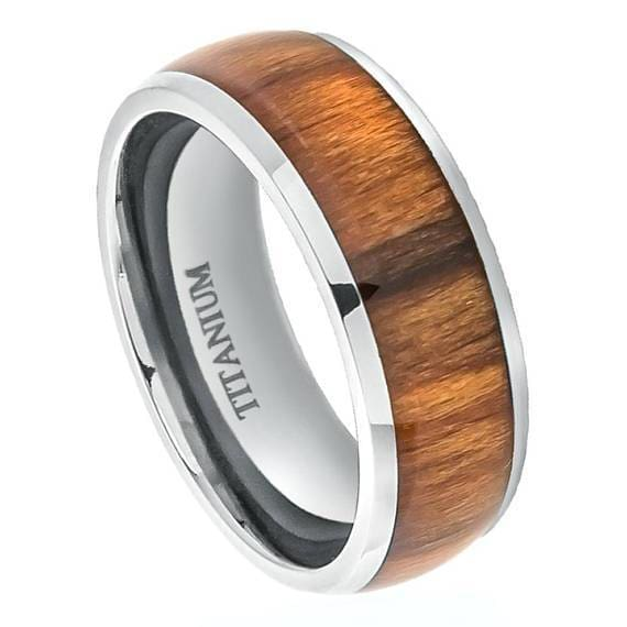 Solid Titanium Wedding Ring High Polished Domed with Genuine Santos Rosewood Inlay - 8mm