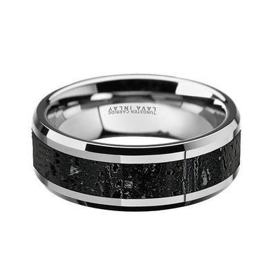 Theo Mens Domed Tungsten Black & Grey Lava Rock Stone Wedding Band - 8mm