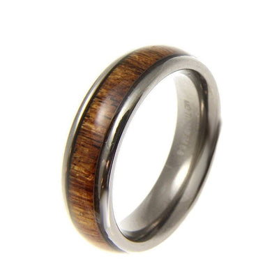 Titanium Band Ring Genuine Inlay Hawaiian Koa Wood Comfort Fit Dome Style - 6mm