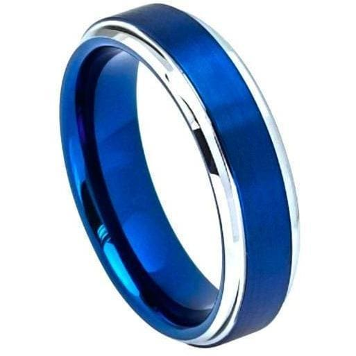 Tungsten Carbide Ring With Blue IP Brushed Center High Polish Stepped Edges - 6mm