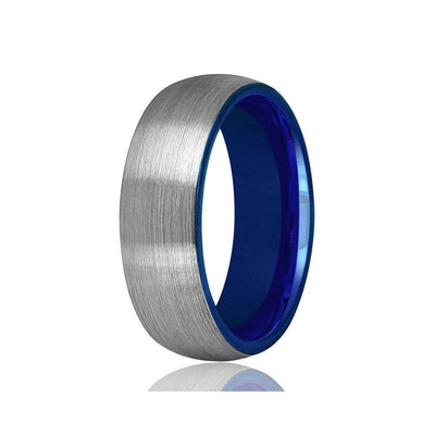 Tungsten Carbide Wedding Ring Comfort Fit Blue Round Domed Brushed - 2mm - 8mm
