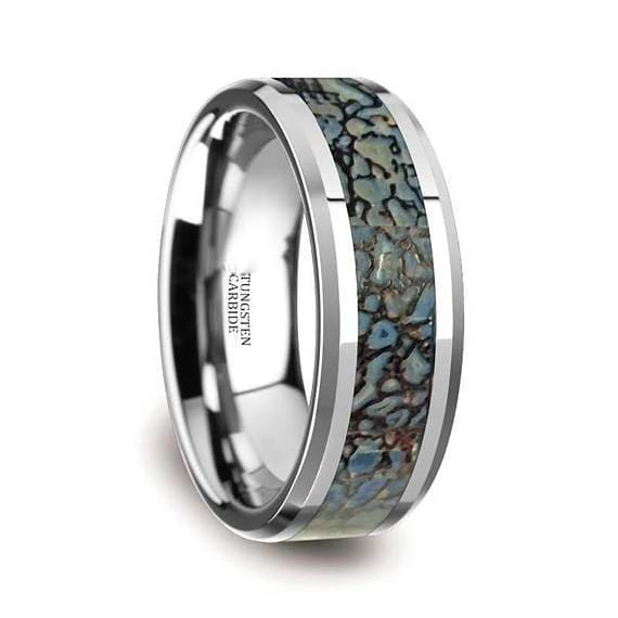 Tungsten Dinosaur Bone Wedding Ring Blue Inlay Beveled Edges 4mm & 8mm