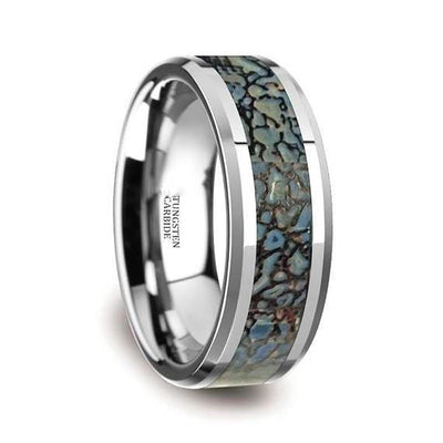 Tungsten Dinosaur Bone Wedding Ring Blue Dinosaur Bone Inlay Beveled Edges 4mm & 8mm