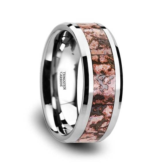 Tungsten Dinosaur Bone Wedding Ring Pink Dinosaur Bone Inlay Beveled Edges 4mm & 8mm
