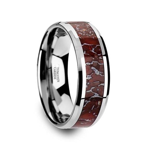 Tungsten Dinosaur Bone Wedding Ring Red Inlay Beveled Edges 8mm