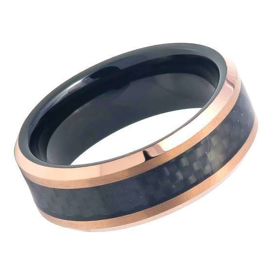 Tungsten Ring Inlaid with Black Carbon Fiber & Beveled Rose Gold IP Finish - 8mm
