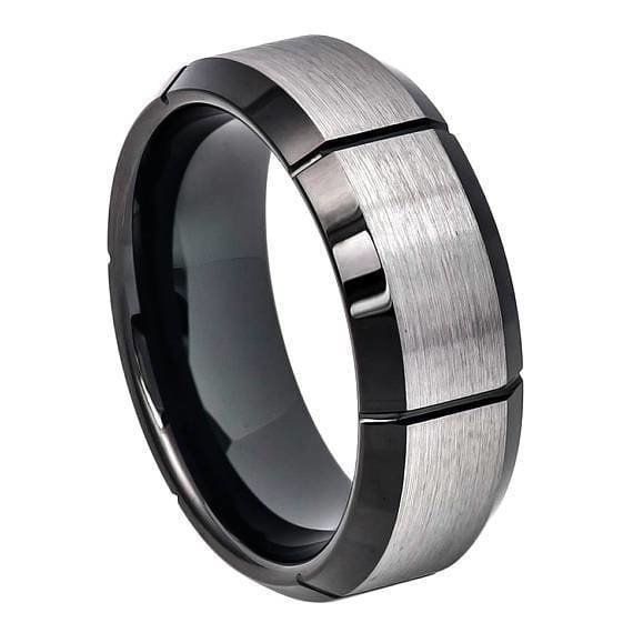 Tungsten Ring W/ Brushed Center Multiple Vertical Grooves & Black IP Beveled Edge - 8mm