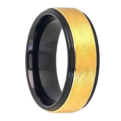 Tungsten Ring W/ Ice Finish Center Stepped Edge Black Inside & Yellow Gold IP - 8mm