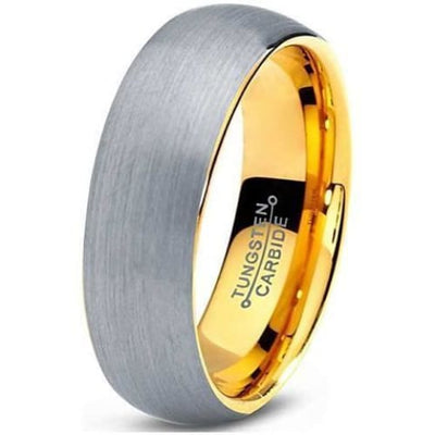 Tungsten Ring With 18K Yellow Gold Plated Domed Brushed Comfort Fit - 7mm