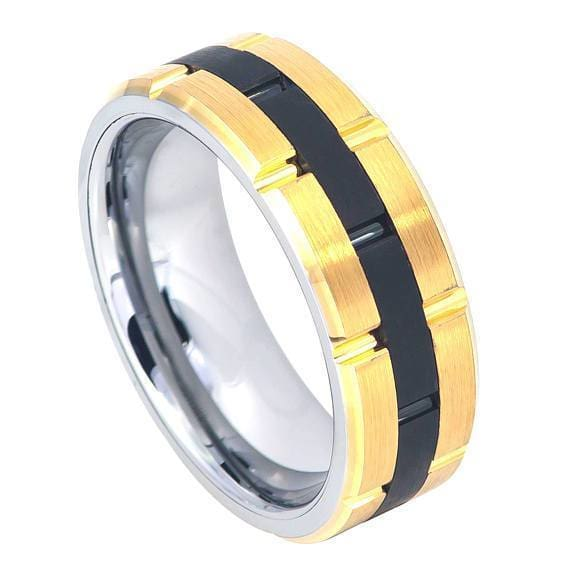 Tungsten Ring With Grooved Yellow Gold IP Sides and Grooved Black IP Center - 8mm