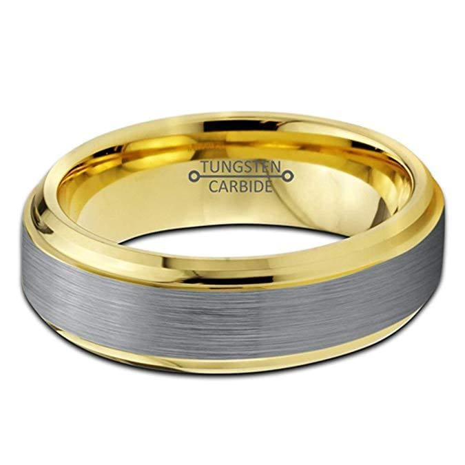 Tungsten Ring Yellow Gold IP Brushed Polished Comfort Fit with Stepped Edges - 6mm