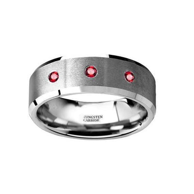 Tungsten Wedding Band Brushed Beveled Edges with 3 Red Ruby Diamond Settings - 8mm