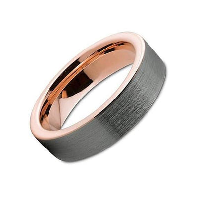 Tungsten Wedding Band With 18K Rose Gold Inlay Pipe Cut Brushed & Polished - 6mm