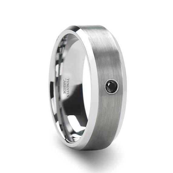 Tungsten Wedding Band with Black Diamond Setting Brushed Center 6mm & 8mm