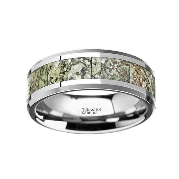 Tungsten Wedding Ring Light Green Dinosaur Bone Inlay Beveled Polished Finish - 8mm