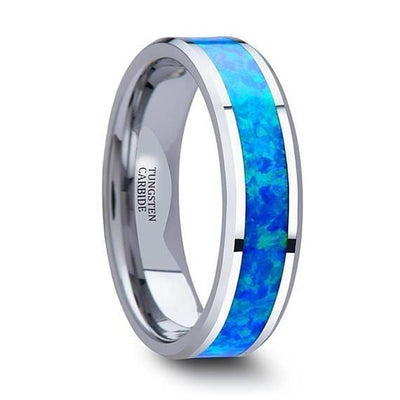 Tungsten Wedding Ring With Blue Green Opal Inlay & Polished Finish 4mm-10mm