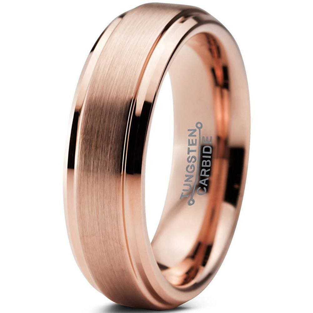Tungsten Wedding Ring With Rose Gold Inlaid Brushed Center & Stepped Edges - 6mm