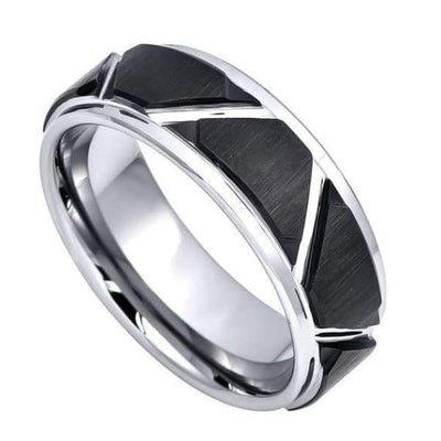 Two-Tone Carbide Tungsten Wedding Ring Brushed Black IP Trapezoids & High Polished Outlines - 8mm