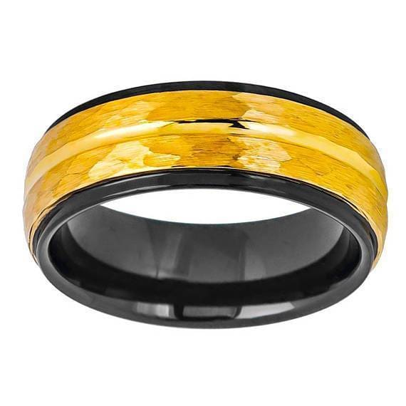 Two-Tone Hammered Finish Tungsten Ring Ywllow Gold IP Inlaid Grooved Center - 8mm