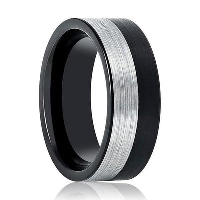 Two-Tone Silver & Black Brushed Tungsten Carbide Ring For Men 8mm