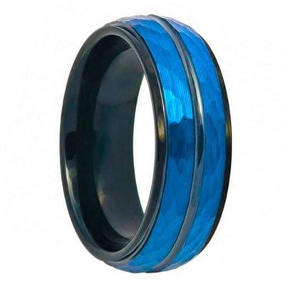 Two-Tone Tungsten Ring Blue IP & Black Hammered Finish Beveled Edge High Polished Stepped - 8mm