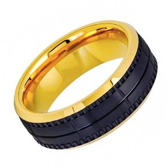 Two-Tone Tungsten Ring Yellow Gold Plated & Black Outside Brushed Grooved - 8mm