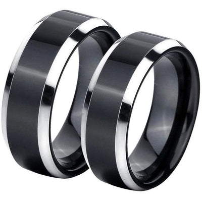 Two-Tone Tungsten Wedding Band Set With Brush Finish and Silver Beveled Edges - 6mm & 8mm