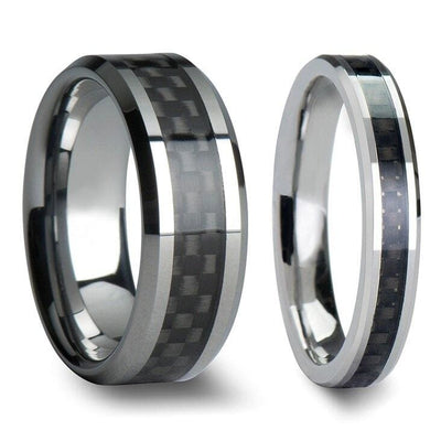 Wade Tungsten Carbide Wedding Band Set With Black Carbon Fiber Inlaid - 4mm - 12mm