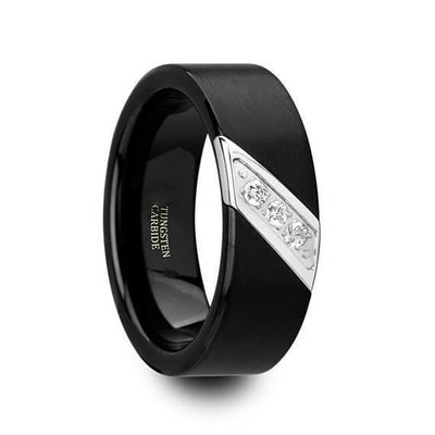 White Diamond Black Tungsten Wedding Ring Flat Brushed with 3 Diamonds - 8mm
