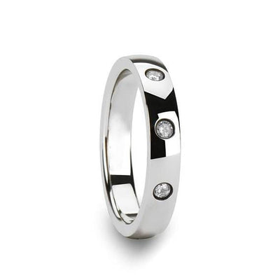 White Diamond Silver Tungsten Wedding Band with 3 Diamonds - 4mm