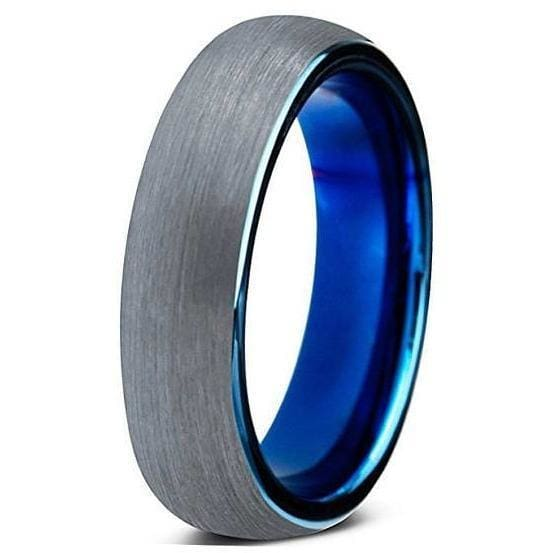 Womens Carbide Tungsten Wedding Ring Comfort Fit Blue Round Domed Brushed - 4mm