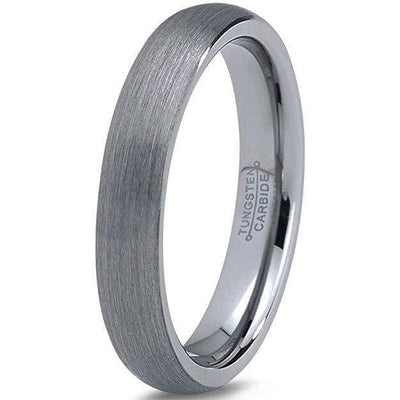 Womens Classic Domed Tungsten Wedding Band with Brushed Finish - 4mm