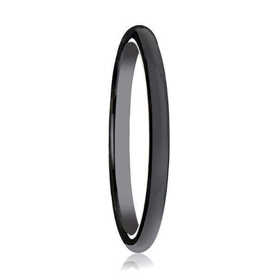 Womens Domed Black Ceramic Wedding Ring with Polished Finish - 2mm
