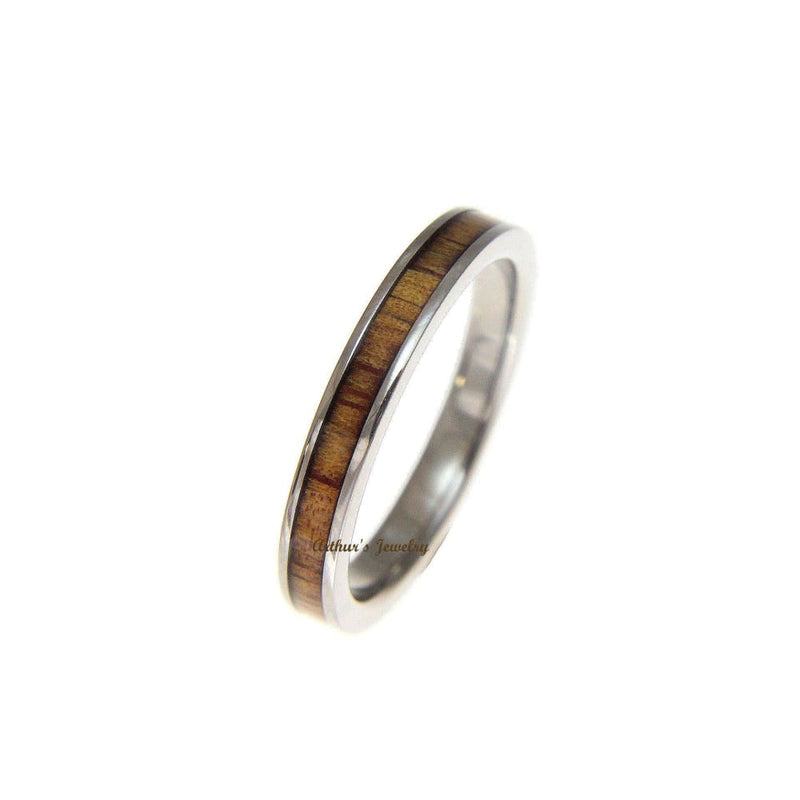 Womens Titanium Wedding Band Genuine Inlay Hawaiian Koa Ring - 3mm