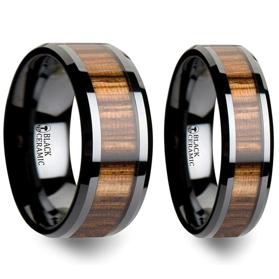 Yachelle Black Ceramic Wedding Band Set With Real Zebra Wood Inlay - 4mm - 10mm