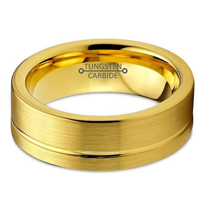 Yellow Gold Plated Tungsten Wedding Band Flat Cut With Grooved Center - 6mm