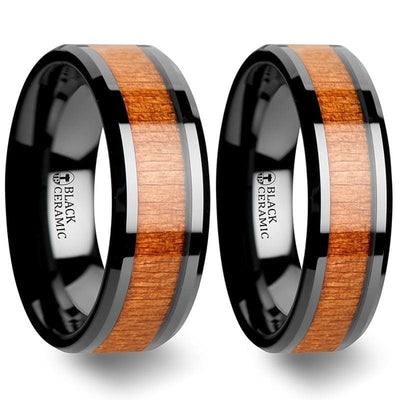 Zaire Black Ceramic Wedding Band Set With Black Cherry Wood Inlaid - 6mm - 10mm