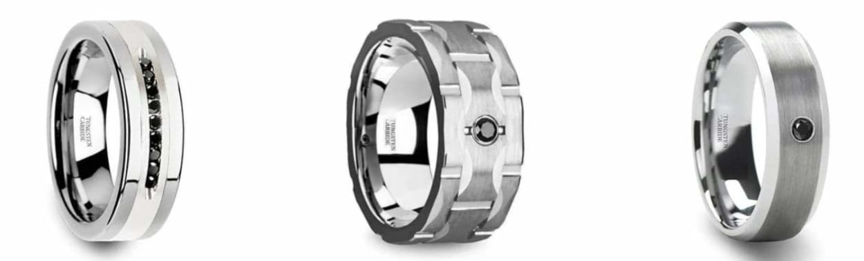 A guide to tungsten wedding bands with diamonds