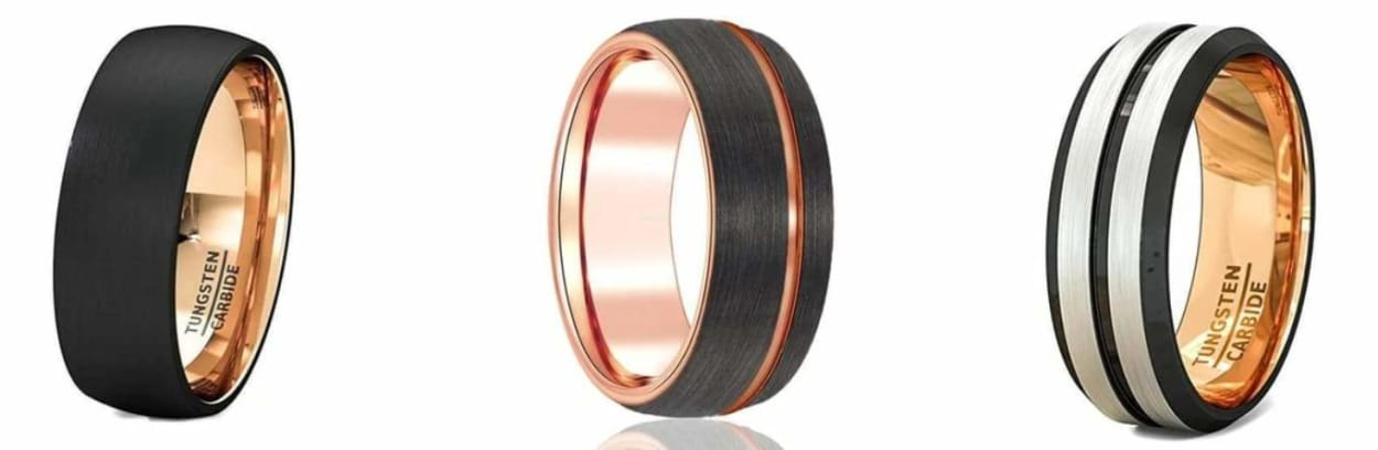 Black and rose gold bands