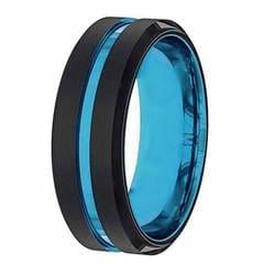 Black and Blue Mens Wedding Bands