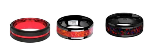 Mens Black and Red Wedding Bands