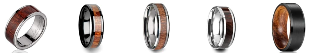 Tungsten and Wood Wedding Bands