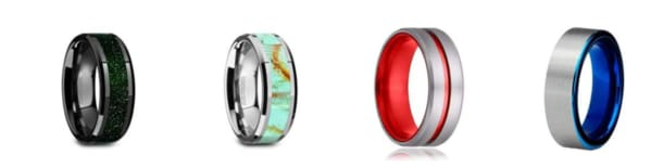 Inlaid tungsten rings