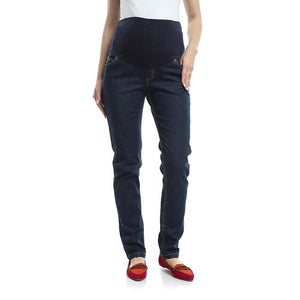 Dark Blue Straight Leg Maternity Jeans